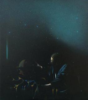 Giuseppe Puglisi Dialogo vermeeriano (L'astronomo), 2013 olio su tela, cm 80 x 70